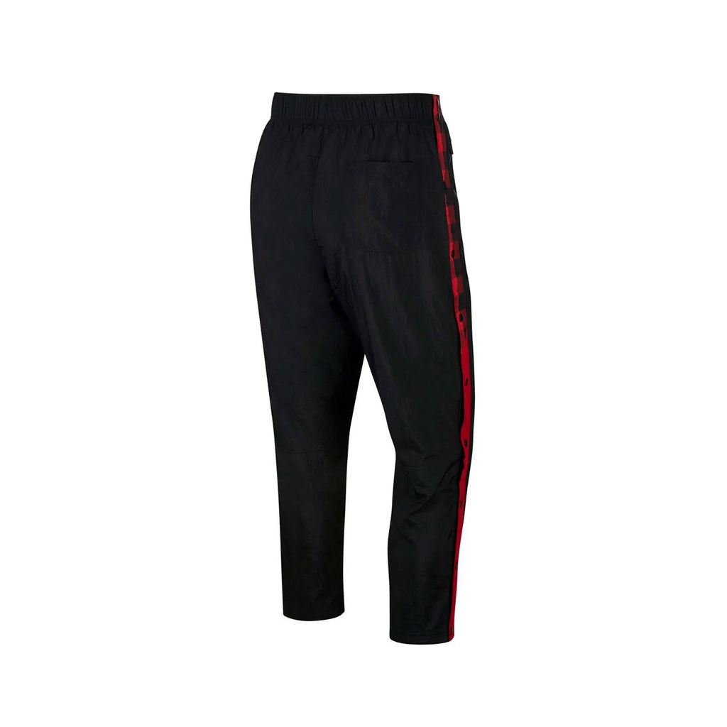 Nike Men's Sportswear NSW Woven Plaid Breakaway Black Gym Red Pants - KickzStore
