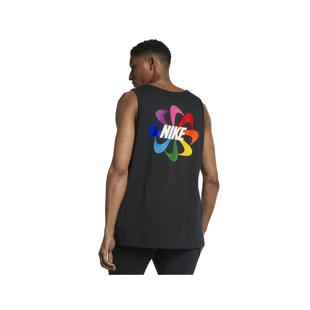 Nike Men's Be True Black Tank Top Tee LGBT Gilbert Baker Pinwheel Rainbow Pride