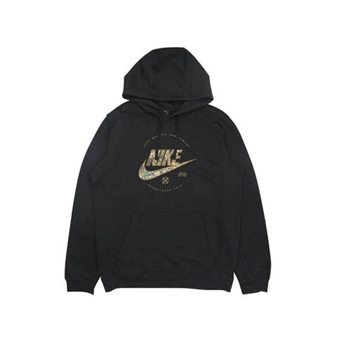 Nike Men's NSW Sportswear Club Real Tree Pullover Black Hoodie