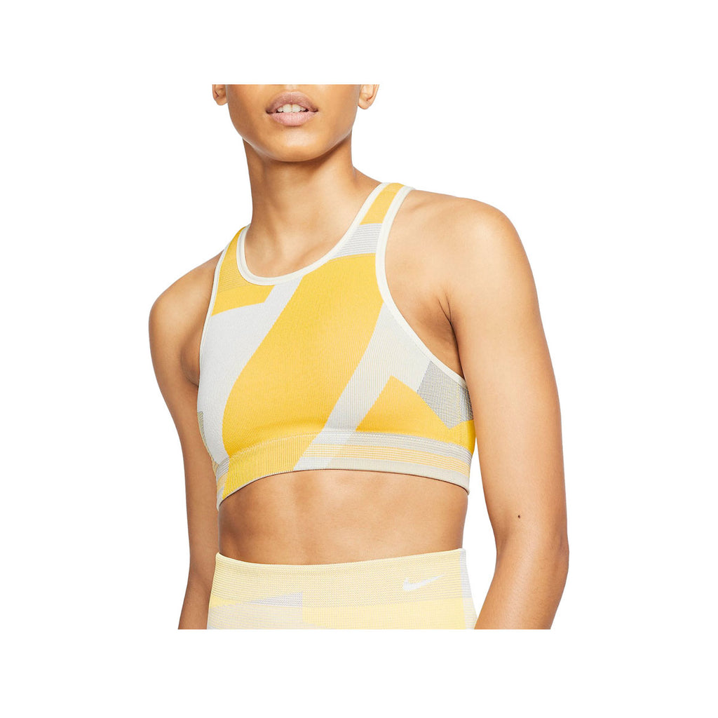 Nike Women's Icon Clash Seamless Sports Bra Yellow Gray
