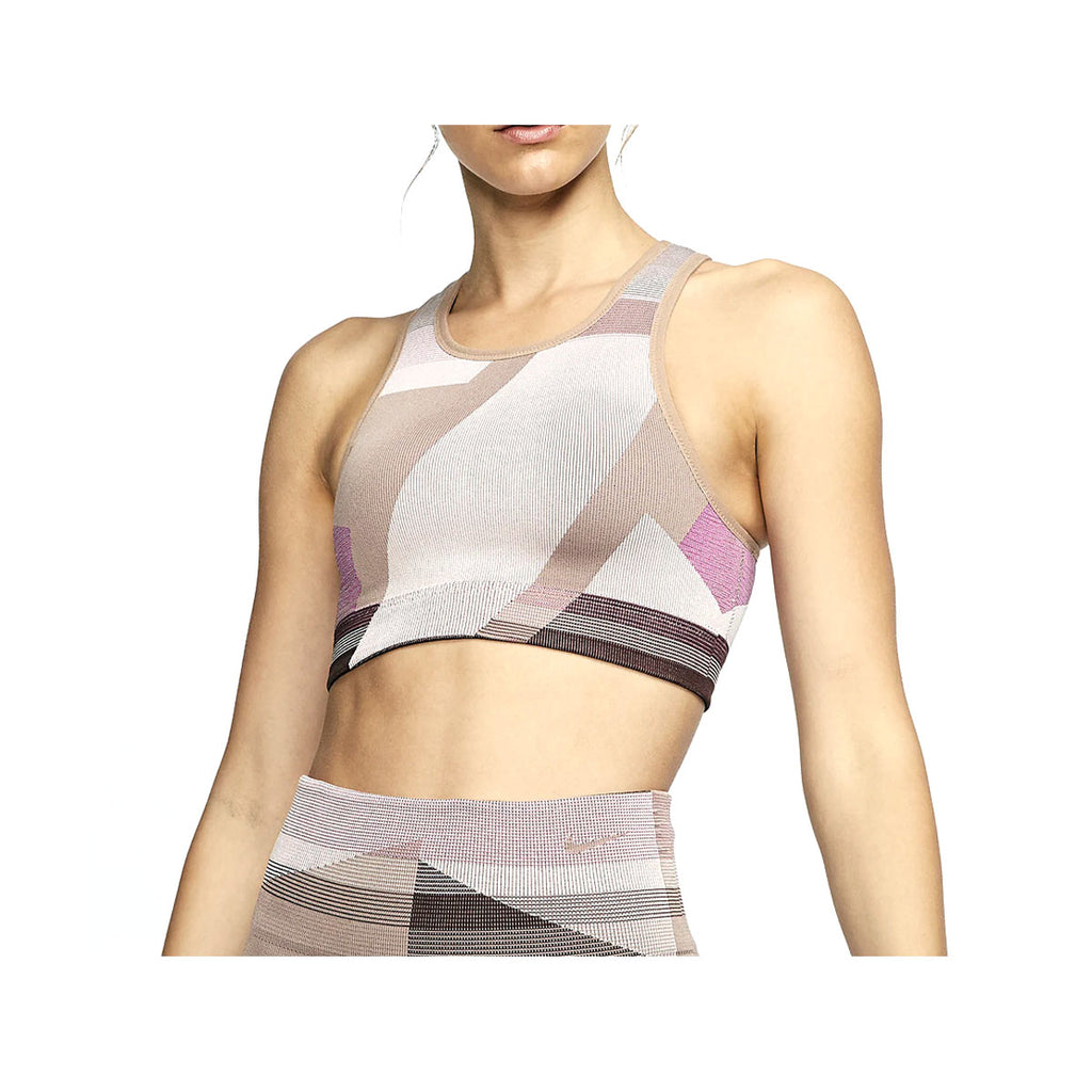 Nike Women's Seamless Light-Support Icon Clash Sports Bra Pink Brown - KickzStore