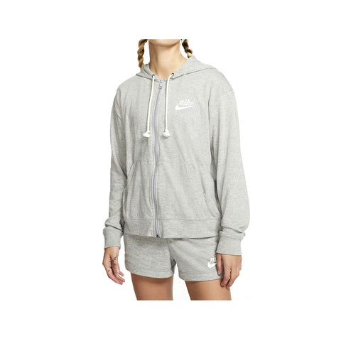Nike Women's Sportswear Gym Vintage Full Zip Hoodie Light Gray White