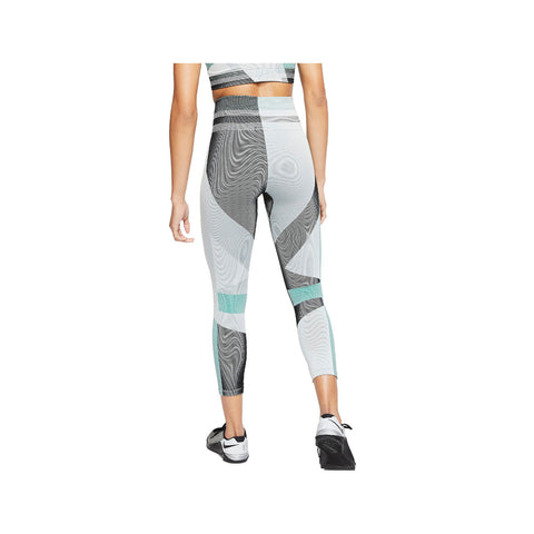 Nike Women's Sculpt Icon Clash 7/8 Seamless Training Tights Teal Black - KickzStore