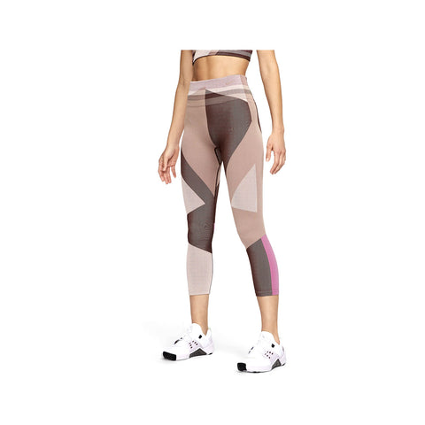 Nike Women's Seamless 7/8 Sculpt Icon Clash Training Tights Pink Brown