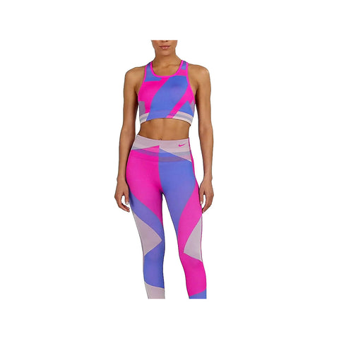 Nike Women's Sculpt Icon Clash 7/8 Seamless Training Tights Pink Blue - KickzStore