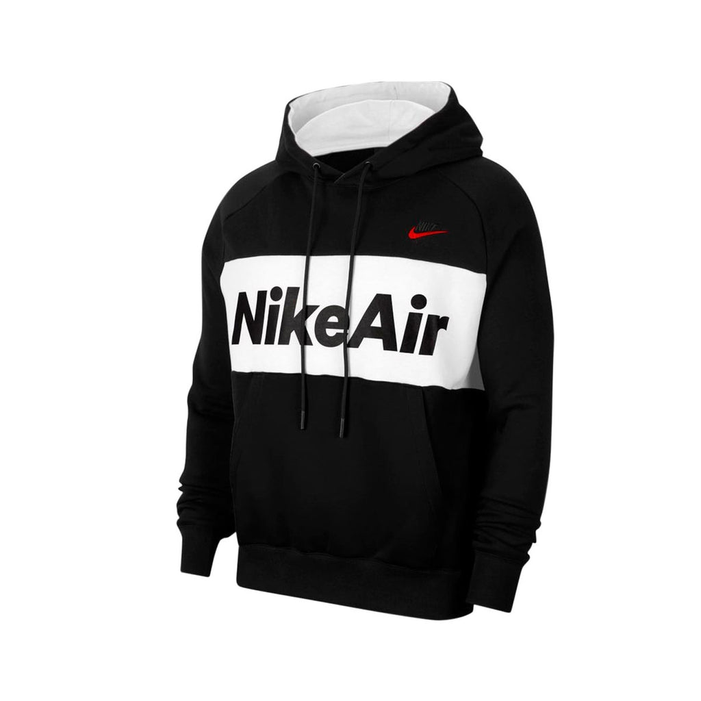 NIke Men's Air Colorblock Black And Red Fleece Hoodie - KickzStore