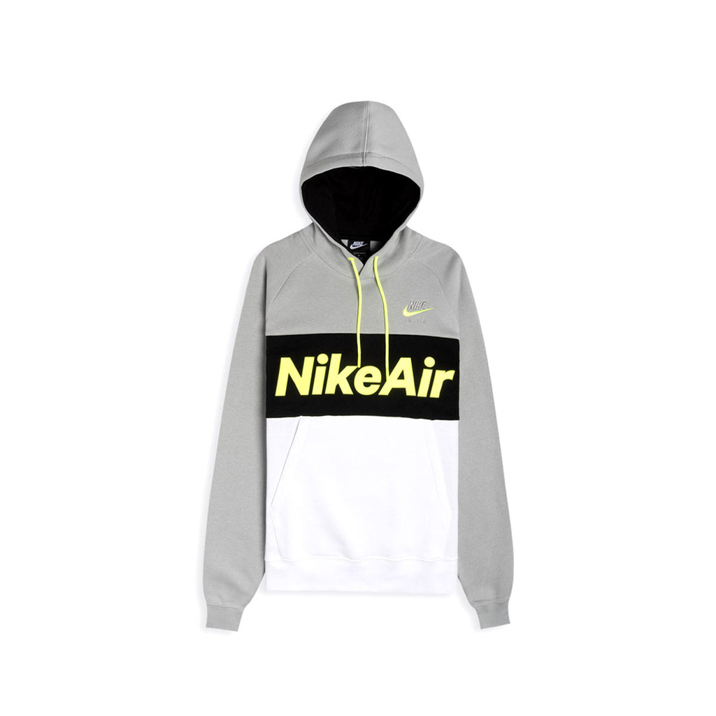 Nike Men's NSW Nike Air Colorblock Fleece Pullover Hoodie Grey Volt - KickzStore