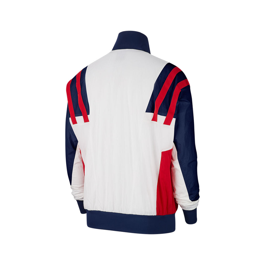 Nike Men's Sportswear White Blue Red Woven Jacket
