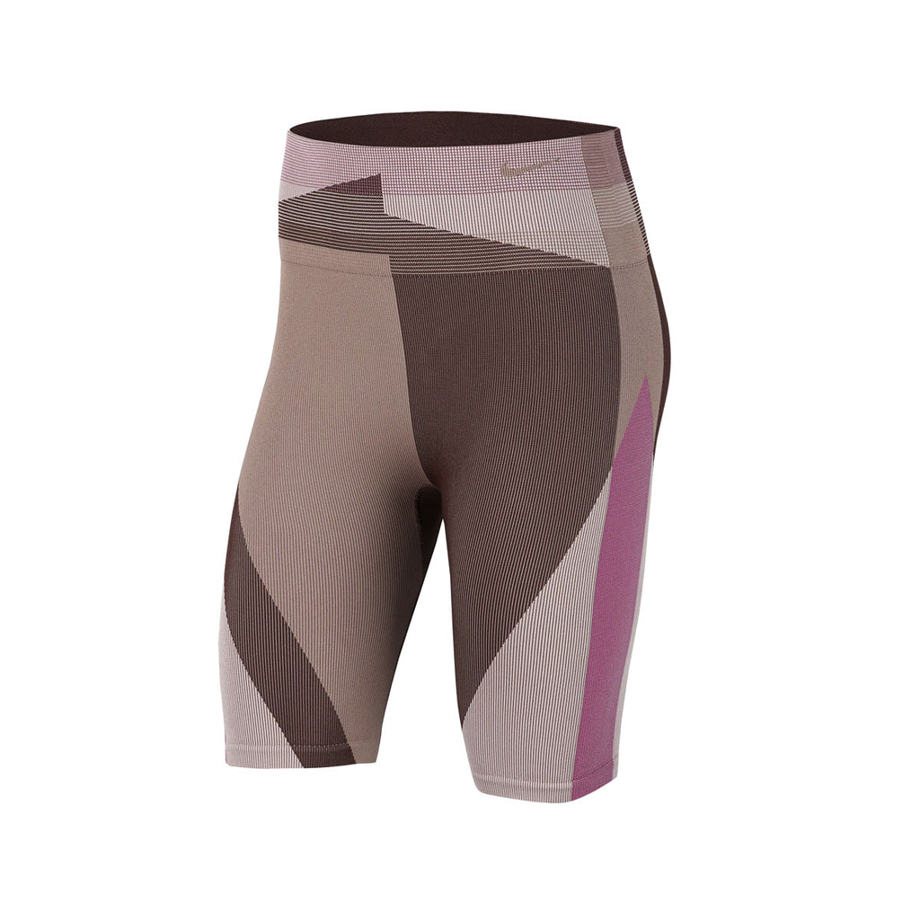 Nike Women's Icon Clash Seamless Training Shorts Pink Brown - KickzStore
