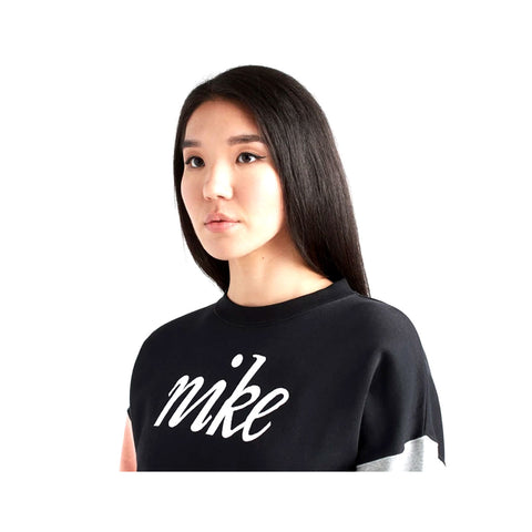 Nike Women;s NSW Colorblock Crew Sweatshirt Black Pink Grey