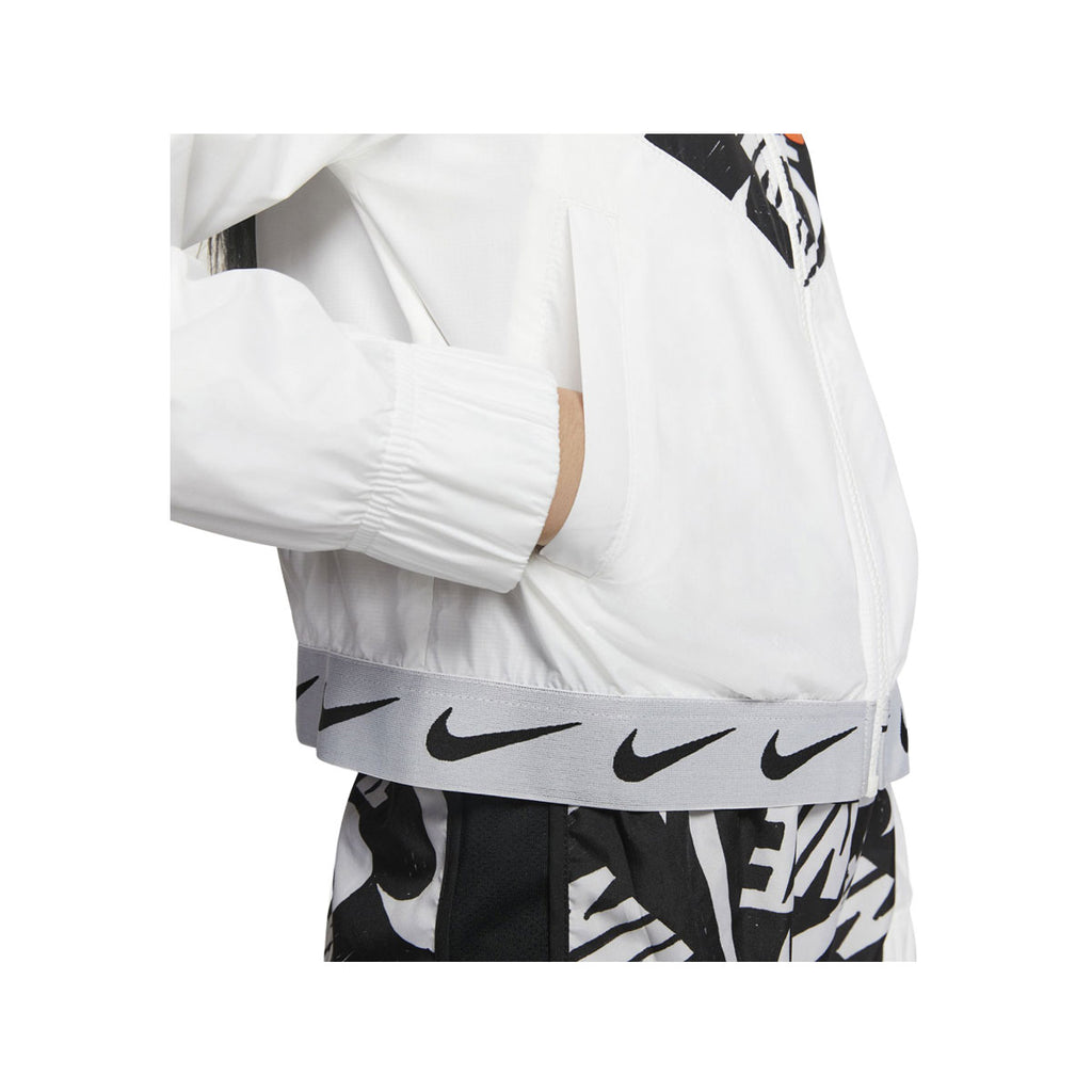 Nike Big Girl's Tempo Print NSW Wind Runner Jacket Black White - KickzStore