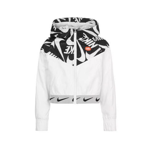 Nike Big Girl's Tempo Print NSW Wind Runner Jacket Black White