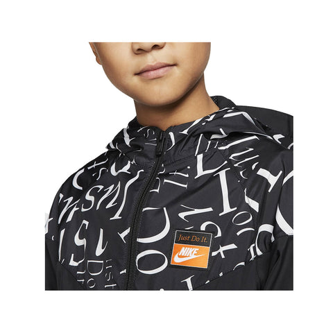 Nike Big Boy's Tempo Printed NSW Wind Runner Jacket Black White