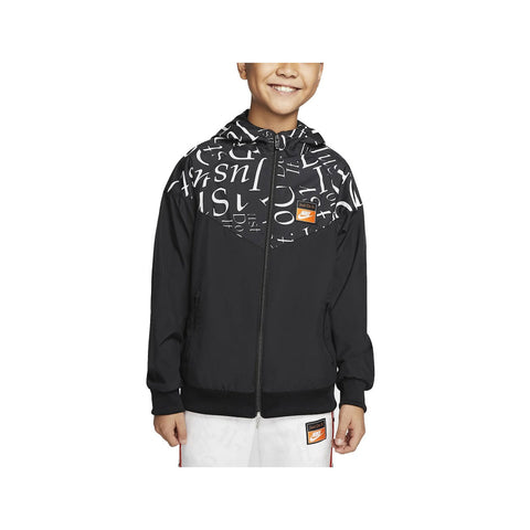 Nike Big Boy's Tempo Printed NSW Wind Runner Jacket Black White - KickzStore
