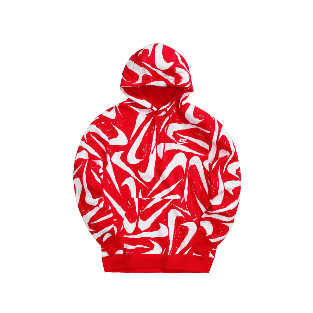 Nike Men's NSW Hand-Drawn All Over Print Club Fleece Red White - KickzStore