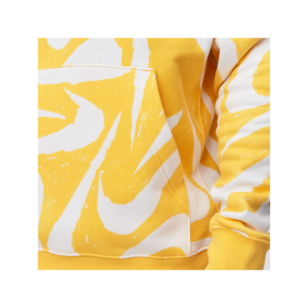 Nike Men's NSW Hand-Drawn All Over Print Club Fleece Hoodie Gold White