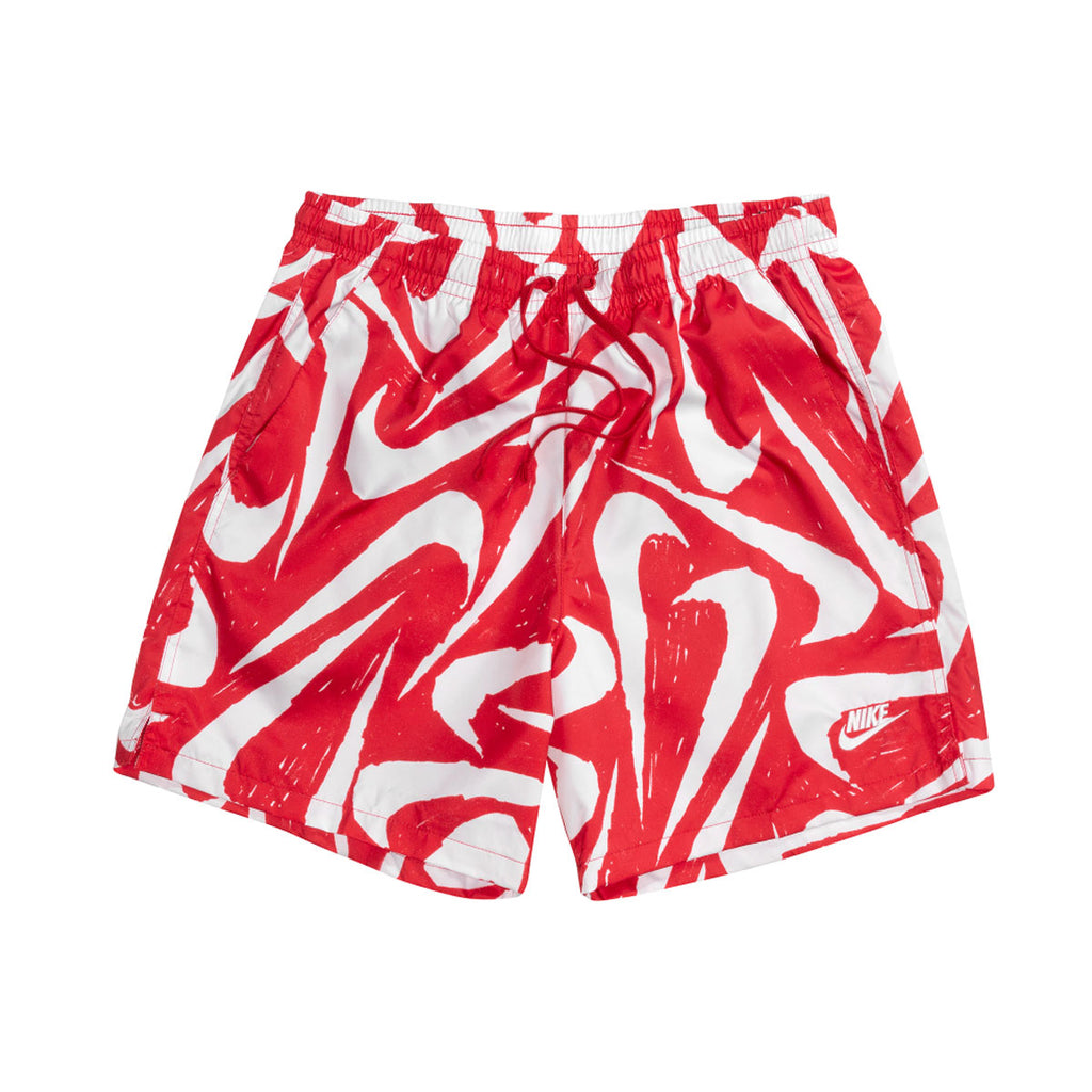 Nike Men's Sportswear Hand Drawn Swoosh All Over Print Woven Shorts Red - KickzStore