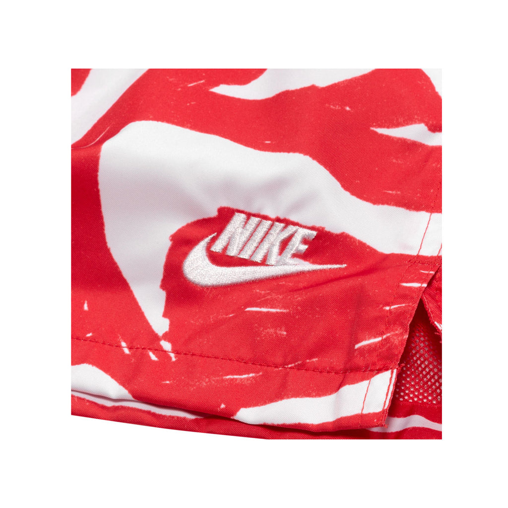 Nike Men's Sportswear Hand Drawn Swoosh All Over Print Woven Shorts Red