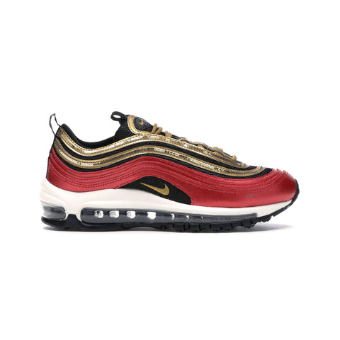 Nike Women's Air Max 97 University Red Gold Sequin