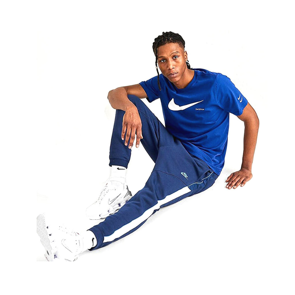 Nike Men's Sportswear Mixed Fleece Jogger Pants Navy White