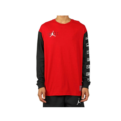 Air Jordan Men's 11 XI Bred Playoff Red Black Pullover L/S Shirt