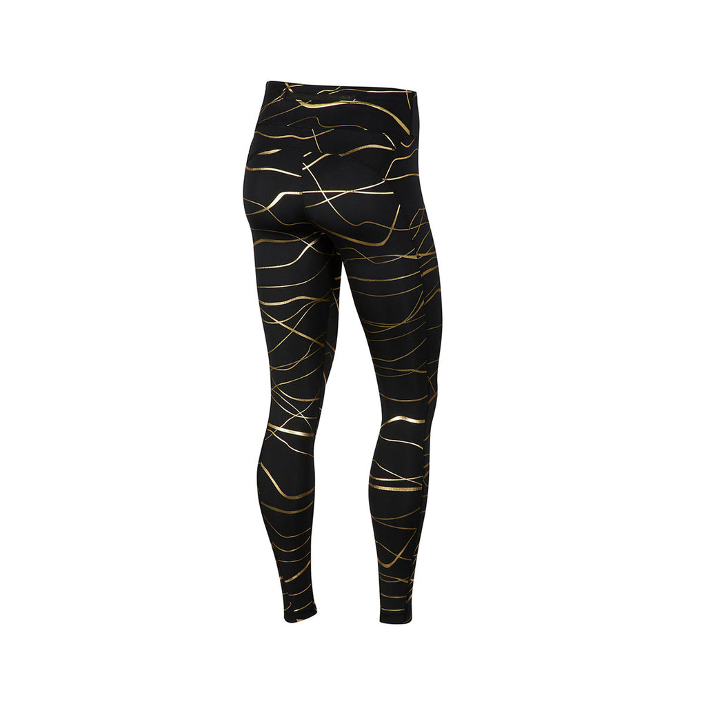 Nike Women's Icon Clash Metallic Print Fast Training Tights Navy Gold - KickzStore