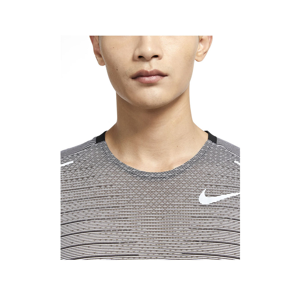 Nike Men's TechKnit Future Fast Striped Running Top Black White