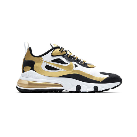 Nike Men's Air Max 270 React White Black Metallic Gold - KickzStore