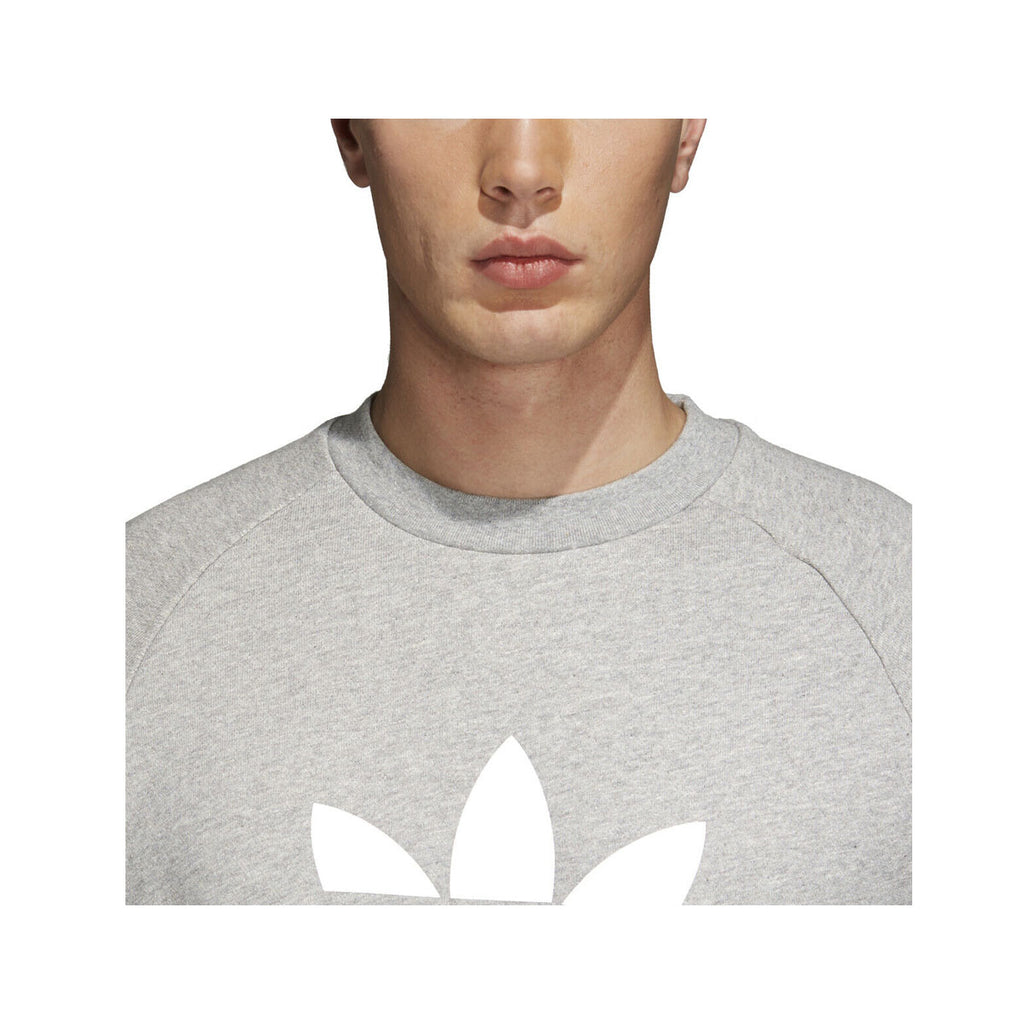 Adidas Men's Trefoil Warm-Up Crew Sweatshirt Gray White - KickzStore