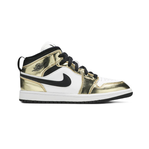 Air Jordan 1 Mid Metallic Gold Black White (PS)