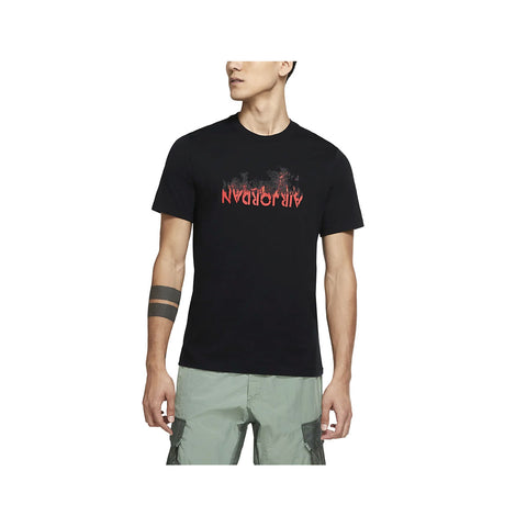 Air Jordan Men's AJ4 Graphic T-Shirt Black Red - KickzStore