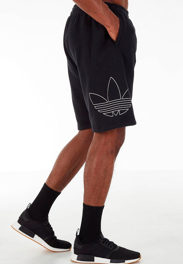 Adidas Originals Outline Block French Terry Black White Shorts DV3274