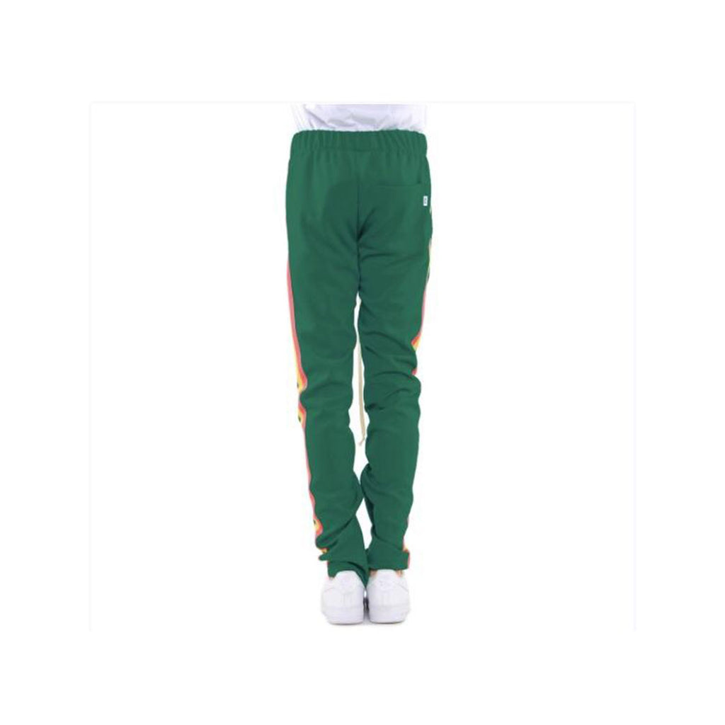 EPTM Men's Red Yellow Green Striped Track Pants Green