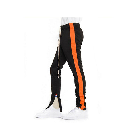 EPTM Men's Orange Striped Track Pants Black