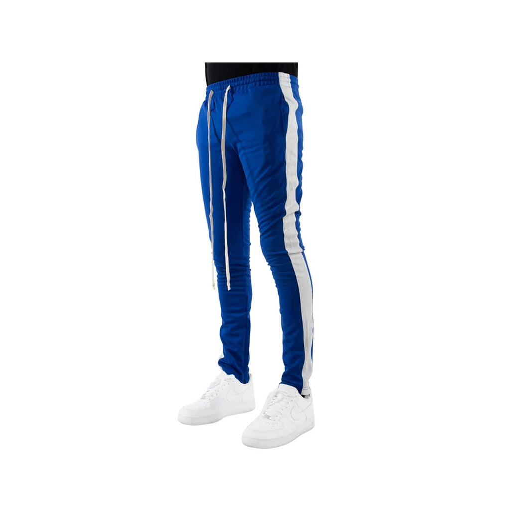 EPTM Men's White Striped Track Pants Blue White