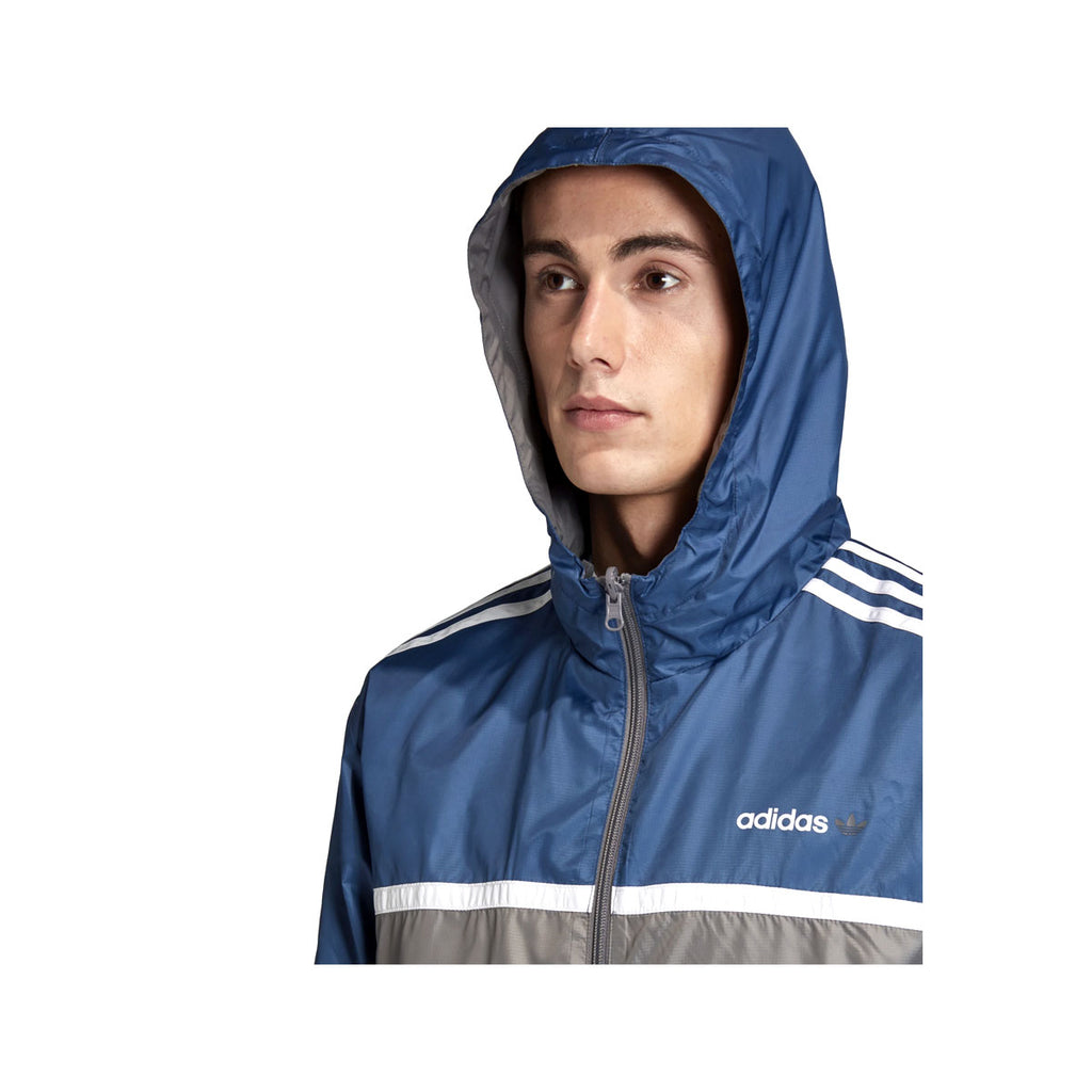 Adidas Men's Originals Linear Reverse Windbreaker Jacket Navy - KickzStore
