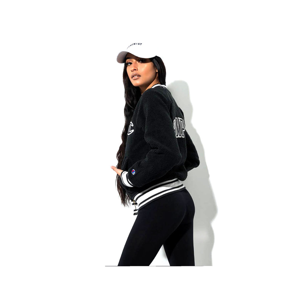 Champion Women's Sherpa Collegiate Zip Up Jacket Black White