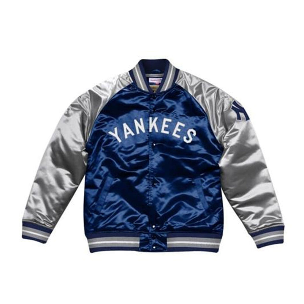 Mitchell & Ness Tough Season Satin New York Yankees Jacket Navy Gray - KickzStore