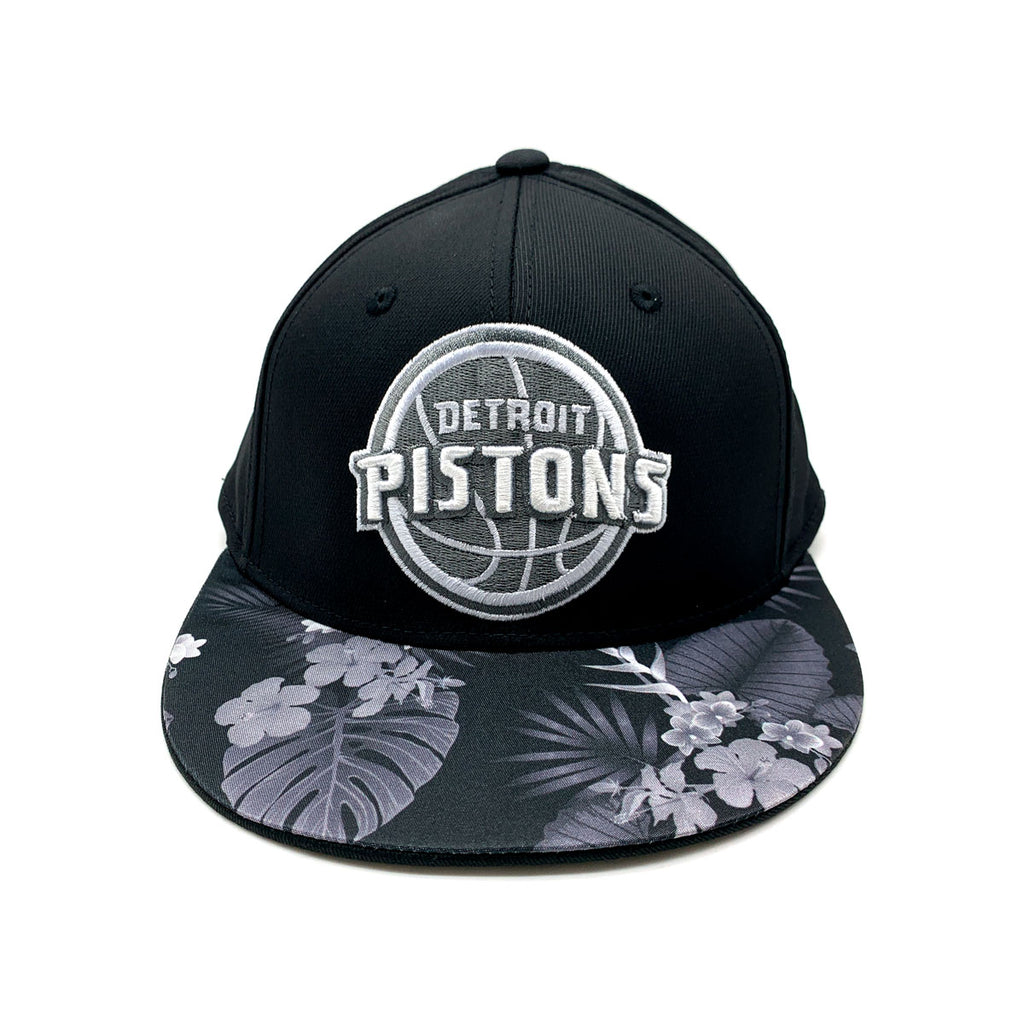 Adidas Detroit Pistons Floral Brim Fitted Hat Black
