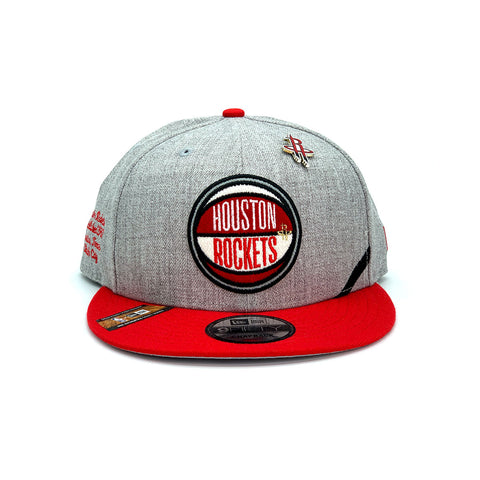 New Era 9FIFTY Houston Rockets Draft Snapback Hat Gray Red - KickzStore