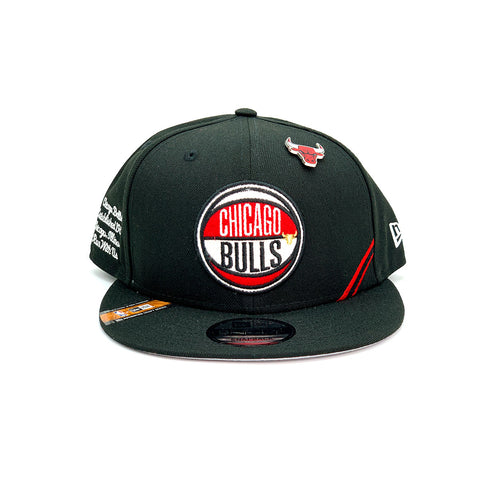 New Era 9FIFTY Chicago Bulls Draft Snapback Hat Black Red White