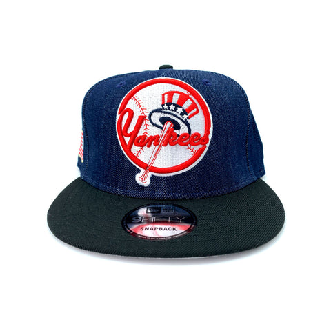 New Era 9FIFTY NY New York Yankess Top Hat Raw Denim Black Snapback Hat