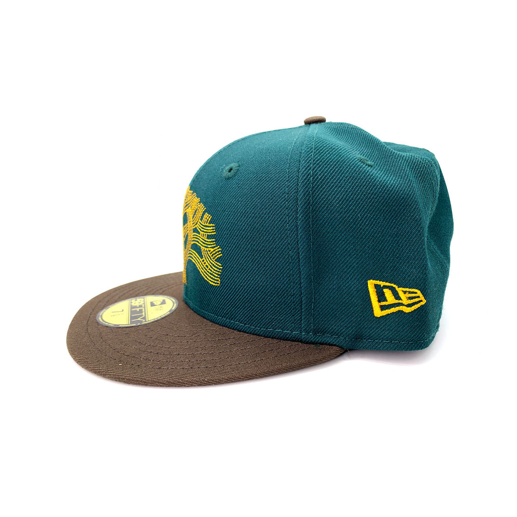 New Era 59FIFTY NBA Golden State Warriors The Town Tree Green Walnut Fitted Hat - KickzStore