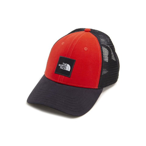 The North Face Box Logo Trucker Snapback Hat Red Black