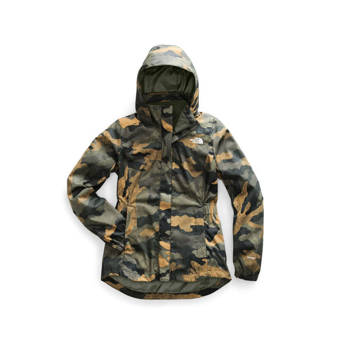 The North Face Women's Resolve Parka II Hooded Jacket Green Waxed Camo
