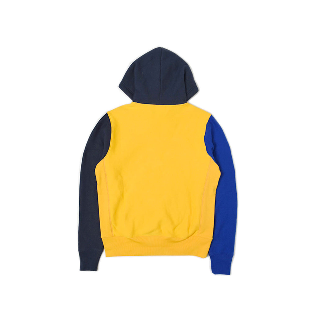 Champion's Men's Color Block Reverse Weave Yellow With Navy Hoodie