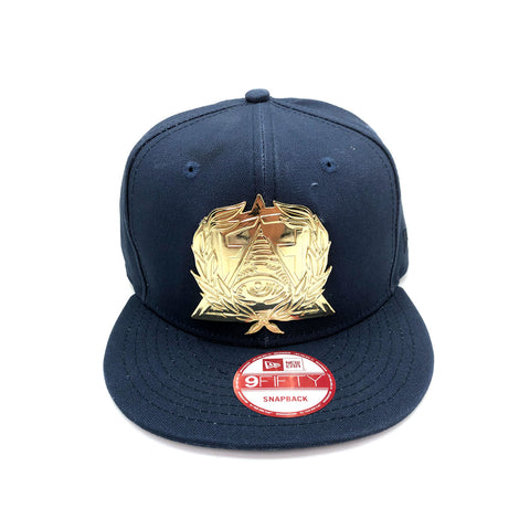 New Era x Secret Society Gold Medallion Eye Logo Navy 9FIFTY Snapback Hat - KickzStore