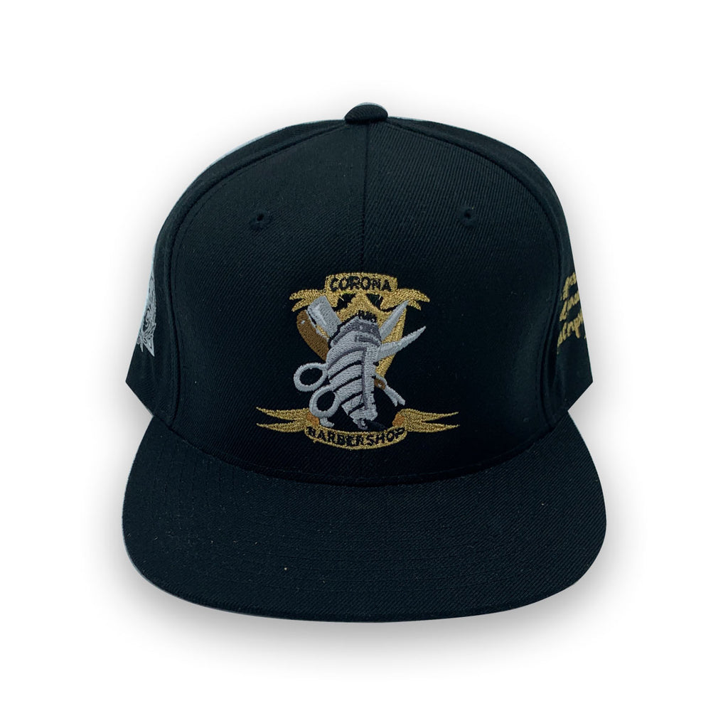 Starter x Secret Society Corona Barbershop Stay Fresh Snapback Hat Black Gold