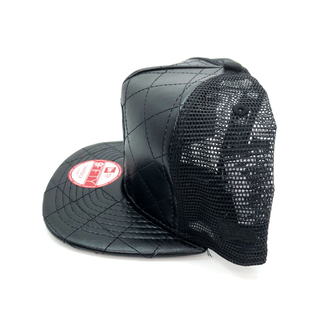 New Era x Secret Society Quilted Leather Mesh 9Fifty Snapback Hat Black