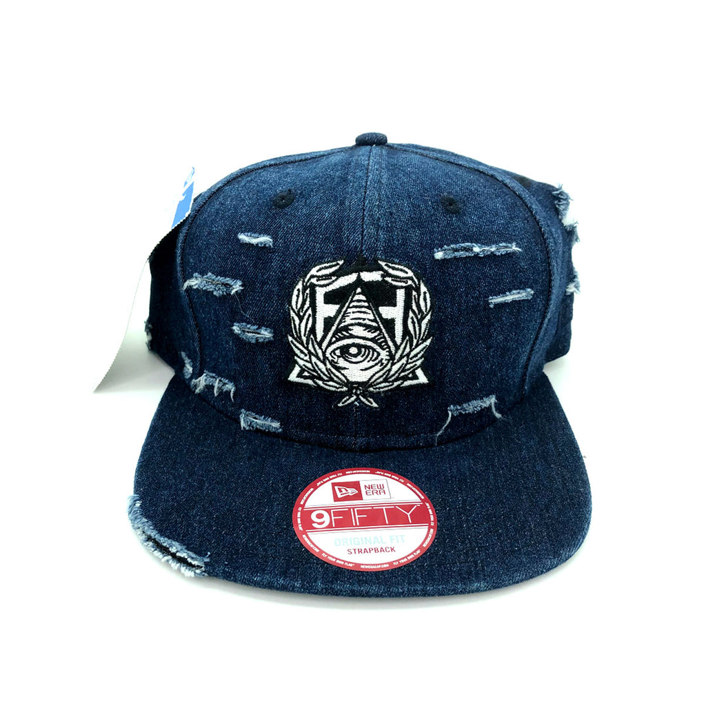 New Era x Secret Society Distressed dark Blue Denim Eye Logo Snapback Hat - KickzStore